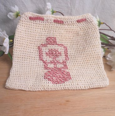 Pink and Cream Crocheted Drawstring Goddess Bag