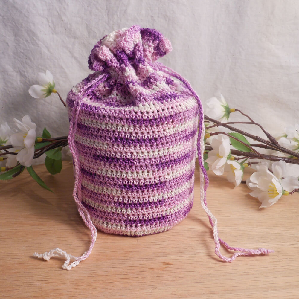 Purple Variegated Crocheted Drawstring Bag with Insert
