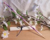 Purple and White Hand Wrapped Bamboo Dip Pen ritual tool carved magical