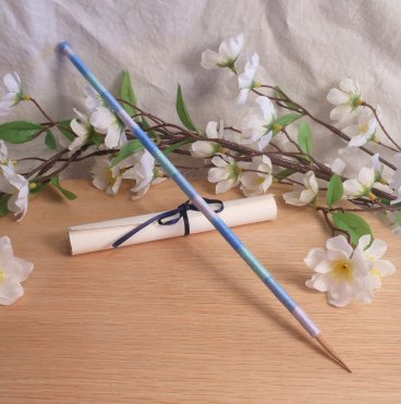 Variegated Blue Hand Wrapped Seshat Bamboo Pen Ritual Tool
