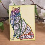 ACEO Trippy Hippy Cat Zen Tangle Art Card by Briana Blair 2