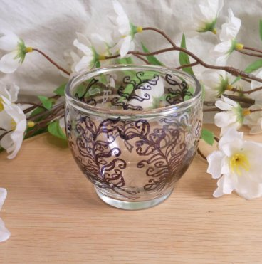 Glass Zendoodle Votive Candle Holder empty