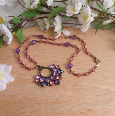 Purple and Pink Bronze Flower Beaded necklace