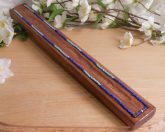 Stained Pine Flat Blue and Gold Beaded Incense Holder