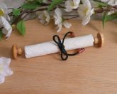Wood Capped Scroll with Black Satin Tie and Red Beads