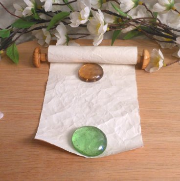 Wood Capped Scroll with Satin Tie and Beads interior