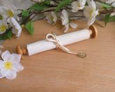 Wood Capped Scroll with White Satin Tie and Green Beads