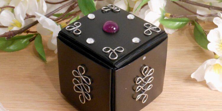 Black Upcycled Paper Trinket Box