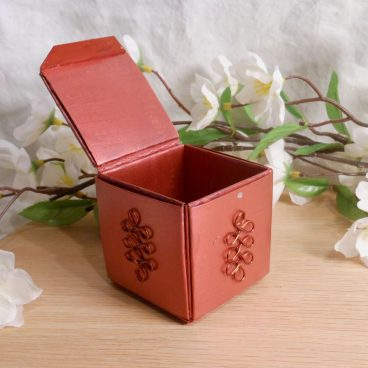 Copper Upcycled Paper Trinket Box open