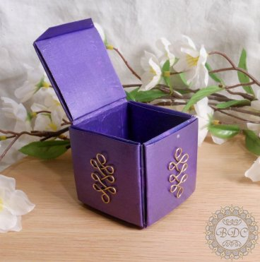 Purple Upcycled Paper Trinket Box open