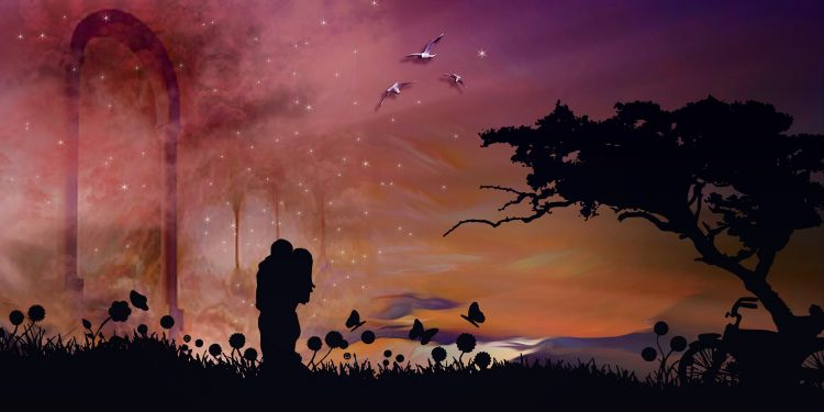 emotion love couple romantic night scenery