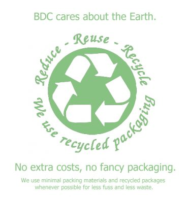 BDC cares recycled packaging logo